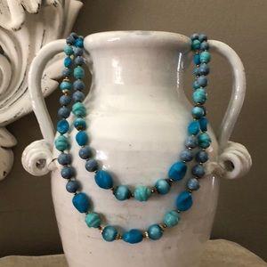 ART Vintage double-strand blue beads necklace